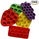 5pc Ice Cube Trays, Chocolate Molds, Baking and Craft Molds, Candy Molds, Fruit shaped Ice Cube Mold