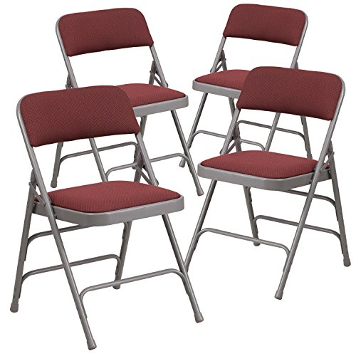 Flash Furniture 4 Pk. HERCULES Series Curved Triple Braced & Double Hinged Burgundy Patterned Fabric Metal Folding Chair by Flash Furniture