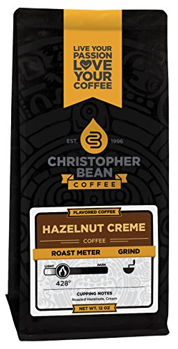 Christopher Bean Coffee Flavored Whole Bean Coffee, Hazelnut Creme, 12 (Hazelnut Flavored Fresh Roasted Coffee)