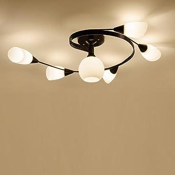 Moderno Rústico Techo Lámpara Negro Hierro y Redondo lechoso Vaso Pantalla de lámpara Candelabro 6 vías