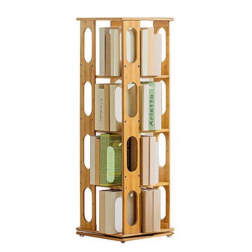 Oak Oval Magazine Rack - Emma Home SJ Bookshelf 360 ° Rotation Floor Bamboo Wood Book Organizer Modern Simple 3/4 Upright Bookcase Shelves (Color : Oval, Size : 4 layers)
