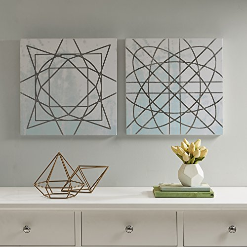 Décor 5 Printed Canvas Set with Silver Metallic Foil - 2 Pieces, 18'' x 18'' - Artic Geometric Pattern - Blue, White, Silver ()