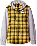 NFL Green Bay Packers Womens NFL Women's Lightweight Flannel Hooded Jacket, Large
