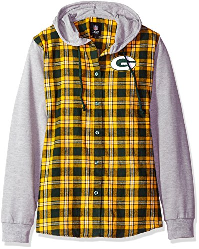 FOCO Green Bay Packers Lightweight Flannel Hooded Jacket - Womens Large