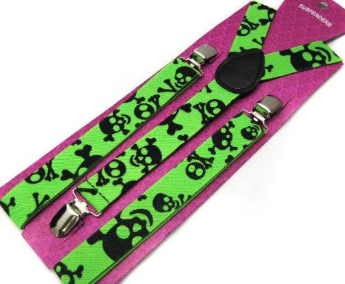 Hot Punk Braces Suspender Green Skulls Unisex Emo Goth