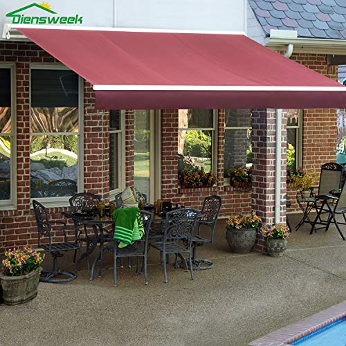 Diensweek 12'X8' Red Semi-Cassette Manual Retractable Window/Door Cloth Cover Canopy Sun Shade Patio Awning, 100% Arcylic, Manual C200 Series, 2 Years Warranty