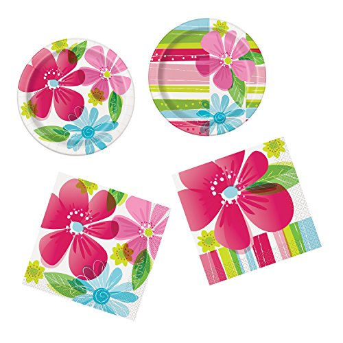 Unique Striped Spring Flowers Party Bundle | Luncheon & Beverage Napkins, Dinner & Dessert Plates | Great for Floral Birthday/Christmas/Corporate Themed Parties