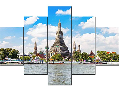 (5 Piece Canvas Wall Art for Living Room Art Work for Home Buddhist Temple in Bangkok Pictures Thailand Paintings Artwork Asia Architecture Home Decor Giclee Framed Ready to Hang(60''Wx40''H))