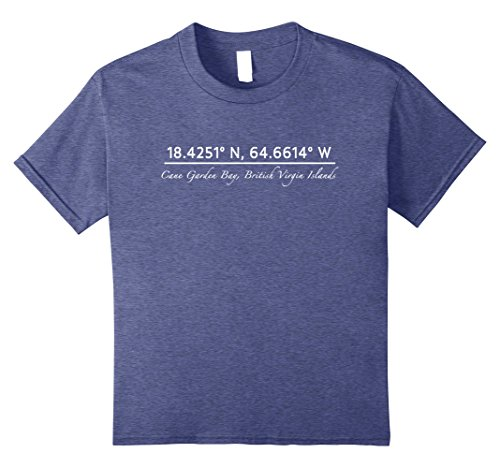 Bay Tortola British Virgin (Kids Cane Garden Bay, British Virgin Islands Coordinates T-shirt 8 Heather Blue)