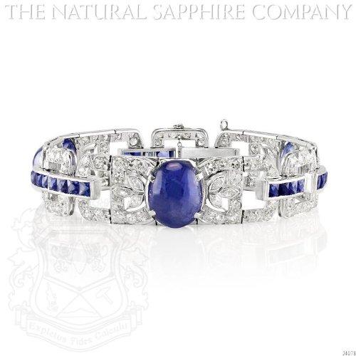 IMPORTANT ART DECO PLATINUM, CABOCHON SAPPHIRE AND DIAMOND BRACELET (Art Deco Platinum Diamond Sapphire)