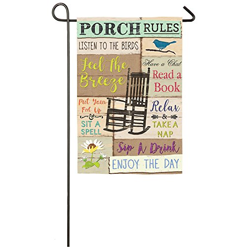Evergreen Porch Rules Outdoor Safe Double-Sided Suede Garden