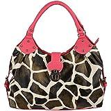 FASH Limited© Giraffe Print Hobo Style Front Flap Top Handle Handbag, One Size