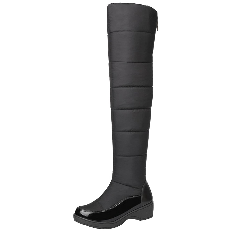 TAOFFEN Women Winter Warm Long Snow Boots Flat Over Knee Boots