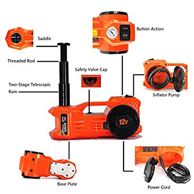 Baner Tech JA370 2 in 1 Combo 1 ton 12V DC Electric Hydraulic Car Floor Jack with Tire Inflatable Pump Automatic Emergency Lift for Cars,Sedans, Vans, SUVs (6.1-17.1 inch, Orange)