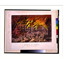 Historic Print (L): Chicago in flames: Scene at Randolph Street Bridge