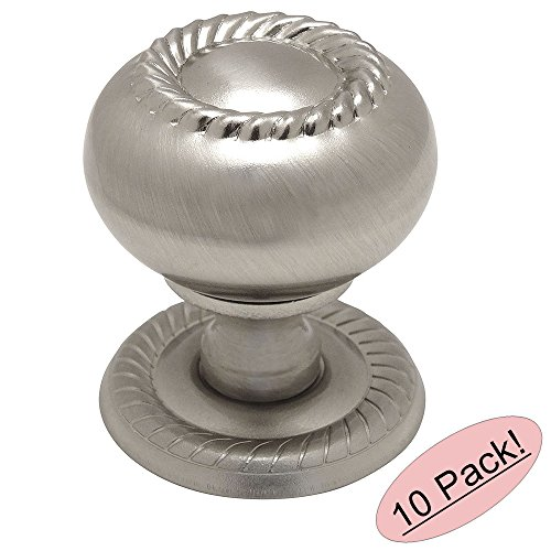 10 Pack - Cosmas 4040SN Satin Nickel Rope/Scroll Cabinet Hardware Knob with Matching Backplate - 1-1/4