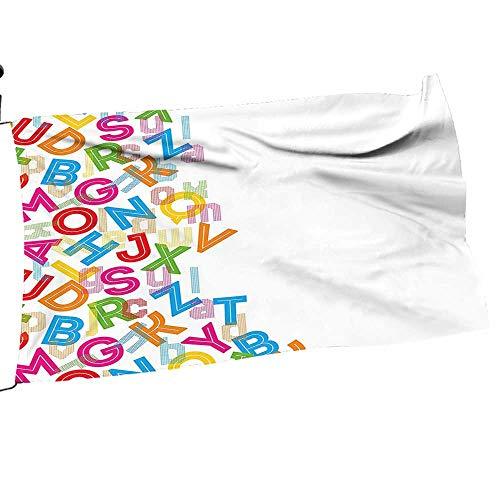Garden Flag Holder Alphabet Background Letter Literature Textured Fun Print Double-Sided Outdoors Lawn Decor12 x 18