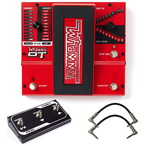 Digitech Whammy DT Pitch Shift Drop Tune Guitar Effects Pedal Bundle with 2 Patch Cables and FS3X 3 Button Footswitch ()