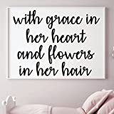 diy teen room decor Girl's Room Wall Decal - With Grace In Her Heart And Flowers In Her Hair - Children or Teen Vinyl Decoration for Bedroom or Playroom Decor, Song Lyrics