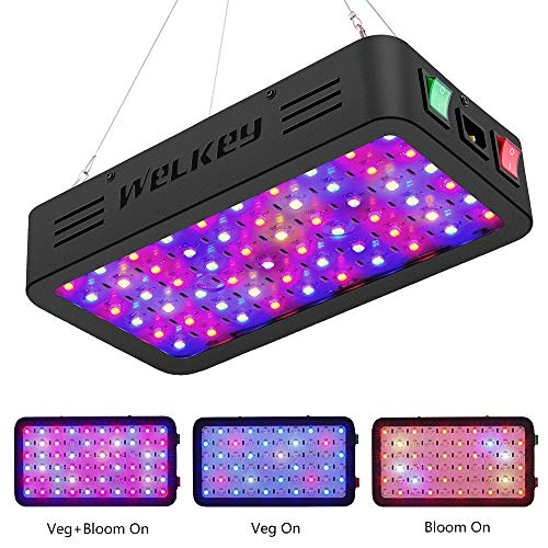 Welkey Plus 600W Upgraded Double Switch Series LED Grow Light Full Spectrum with a Temperature and Humidity Monitor, Growing Lamp Vegetative for Hydroponic Indoor Plants Veg and Flower(10W LEDs 60PCS)
