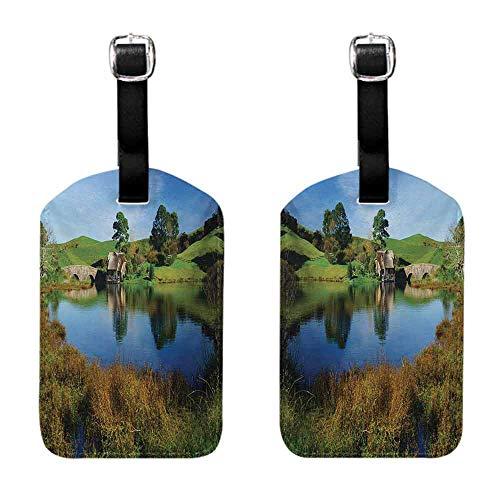 Luggage Suitcase Tags Hobbits,Hobbit Land Village House by Lake with Stone Bridge Farmhouse Cottage New Zealand,Green Blue Luggage Suitcase