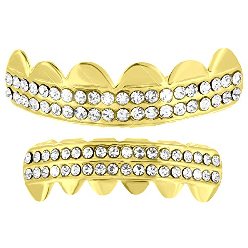 [Upper Bottom Grillz Tooth Caps 14k Gold Tone 2 Row Lab Diamonds Halloween Sale] (Celebrity Halloween Costumes For Sale)