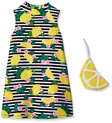 Pogo Club Little Girls Weekend In Newport Lemon Printed Textured Knit Dress With Bag Black Medium/5/6 by Pogo Club