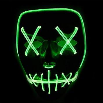 Winiron - Máscara de Halloween con luz LED, Funciona con Pilas para Carnaval, Festival