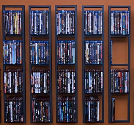 Modern wall mount cd dvd media rack storage metal shelf In wall dvd storage