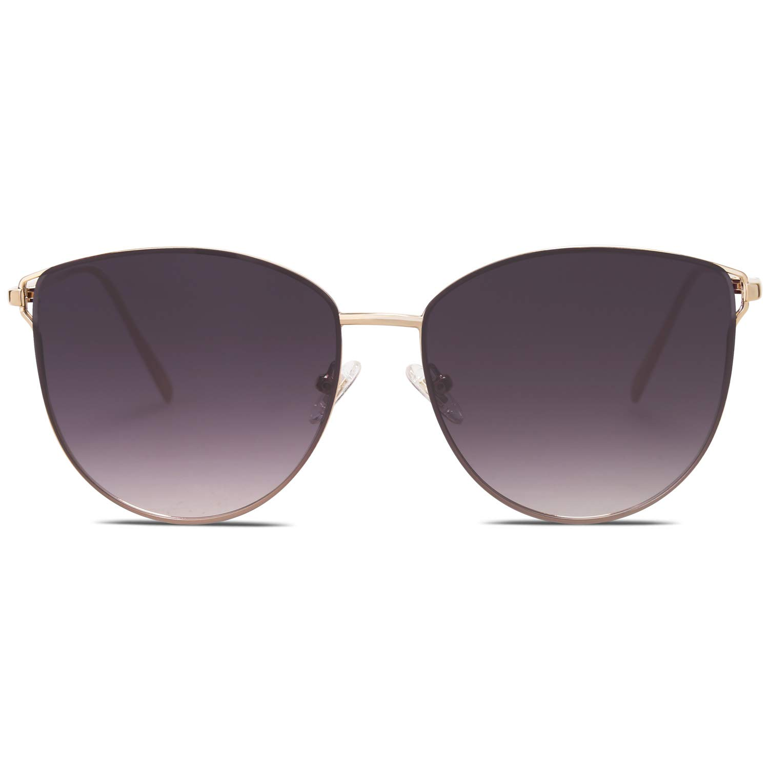 SOJOS Mirrored Flat Lens Fashion Sunglasses for Women SJ1085 SJ2036 with Gold Frame/Gradient Grey Lens by SOJOS