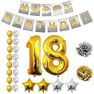 BELLE VOUS 18 Decoración de Cumpleaños - Pancarta de Happy