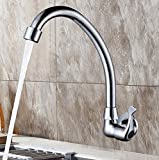 AWXJX Sink Taps kitchen copper Rotating Single cold Into the wall Double handle ceramics Single hole