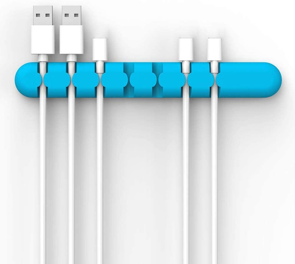 Home Office Table Desk Cord Holder Organizer Wire Cable Management Storage Supplies Blue 5 Holes^ display08 Charge Cable Winder Clips