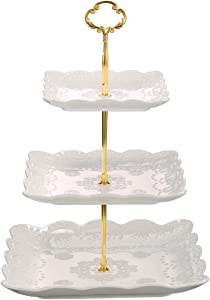 Sumerflos 3 Tier Porcelain Cupcake Stand, Tiered Serving Cake Stand, Square White Embossed Dessert Stand, Weddings Parties Pastry Serving Tray