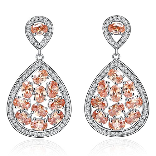 Champagne Cubic Zirconia Elegant Lady Girls Leaves Dangle Chandelier Earrings