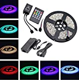 Topled Light® Music Led Strip Light,IR Music Sound Activated 5M 5050 RGB Waterproof 300LEDs RGB Flexible Color Changing LED Strip Kit with 20-key Music Sound Sense IR Controller + 12V 6A Power Supply