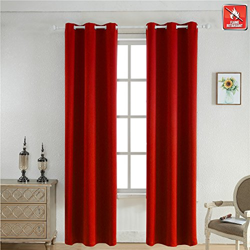 BEGOODTEX Inherent Flame Fire Retardant Room Darkening Blackout Window Curtains, 6 Silver Grommet, Red, - Red Black Silver
