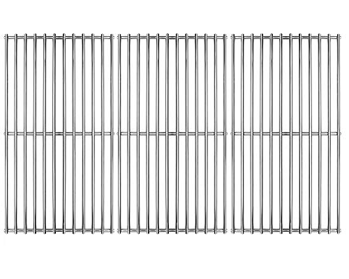 Hongso SCI1S3 BBQ Stainless Steel Wire Cooking Grid Replacement for Select Gas Grill Models by Brinkmann, Charmglow, Costco, Jenn Air, Members, Nexgrill, Perfect Flame, SAMS Club and Others, Set of 3 (Porcelain Vs Stainless Steel Grill)