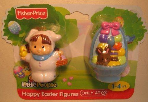 Little People Easter Friends Set - BLUE Easter Basket & Little People WHITE Bunny Figure