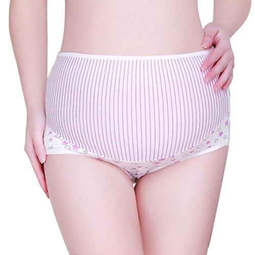 Voberry Women's Maternity Panties High Cut Cotton Over Bump Underwear Brief (XL, Purple 1) (Cut Panties High Maternity)
