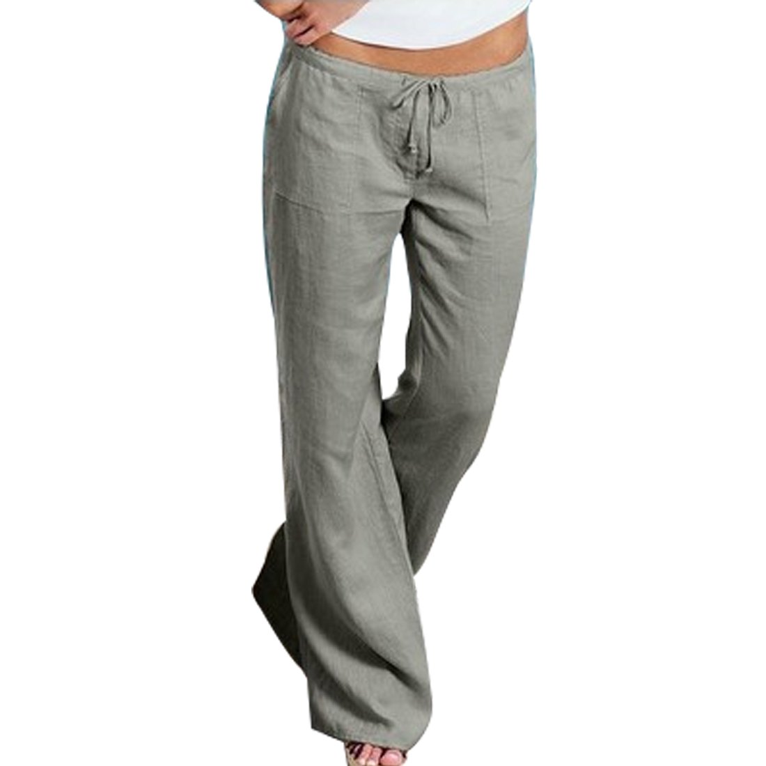Huicai Women Flared Trousers Comfortable Linen Pants High Waist Casual Pants Huicai Co. Ltd