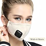 Mouth Masks With Valve Mask Washable Replaceable Filter Activated Carbon Dust Mask (One Mask + 6 Filters) Women Beige