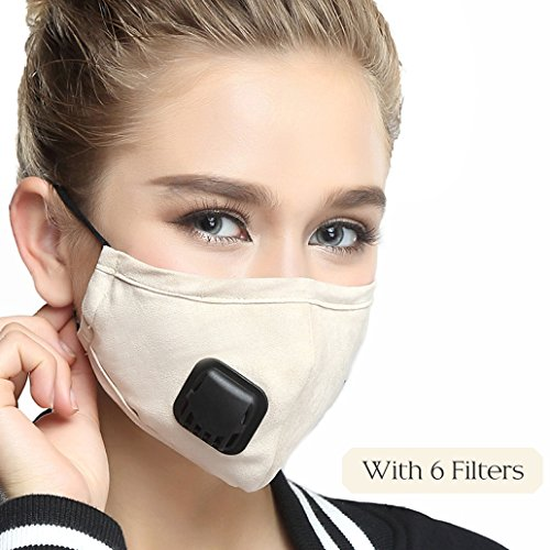 Mouth Masks With Valve Mask Washable Replaceable Filter Activated Carbon Dust Mask (One Mask + 6 Filters) Women Beige by Maxcharm