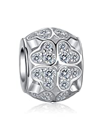 EleQueen 925 Sterling Silver Love Heart of Ocean Cubic Zirconia Bead Charm Fits Pandora Clear