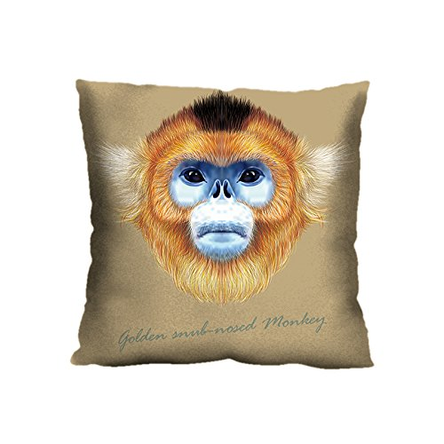 nkey Pillowcase Baby Wool Fabric, 18 x 18 Inches Two Sides Print, Custom Print Sichuan Golden Hair Monkey Pillow Case Cover ()