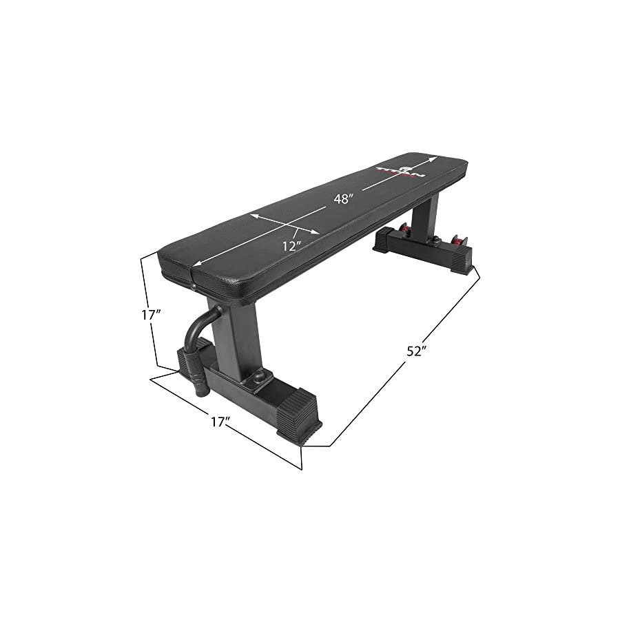 Titan Fitness Flat Weight Bench 1,000 lb Rated Capacity w/Handle & Wheels
