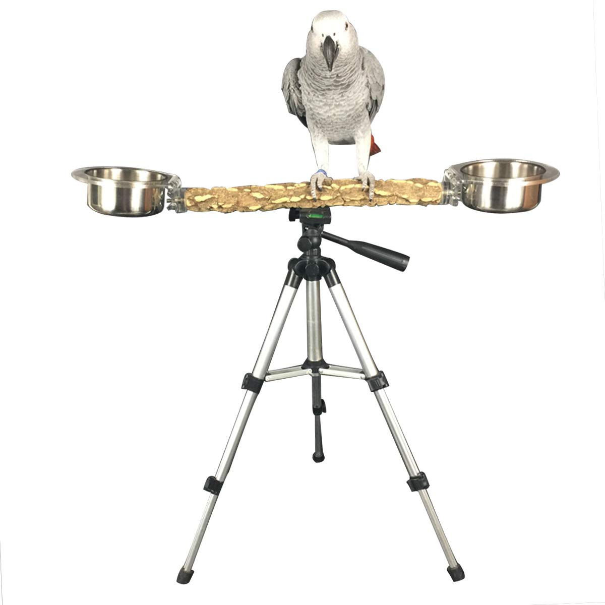 TOYPOPOR Bird Travel Perches Portable Training Bird Perch Stand with 2 Cups Play for Medium and Large Breeds by TOYPOPOR