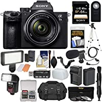 Sony Alpha A7 III 4K Digital Camera & 28-70mm FE OSS Lens with 64GB Card + Battery & Charger + Case + 3 Filters + Tripod + Flash + LED Light + Mic Kit