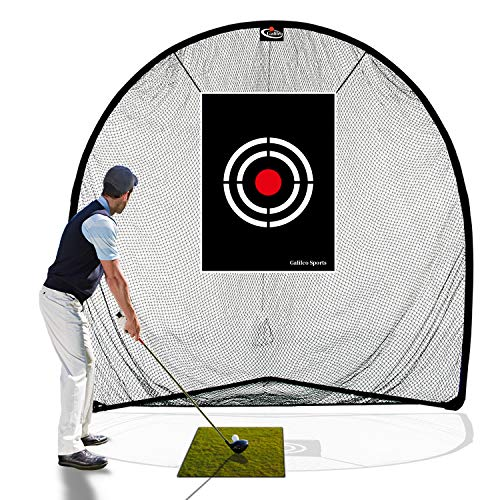 Galileo Golf Net Golf Hitting Nets for Backyard Driving Indoor Use 8'(L) X8'(H) X3'(W) Practice Portable Driving Range Indoor Golf Net Training Aids with Target and Carry Bag