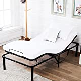 Mecor Electric Adjustable Metal Bed Frame Base,with Remote Control,Black/Twin X-Large
